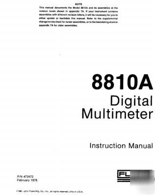John fluke 8810A operation & service manual