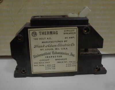 Frank adam electric co. thermag breaker 20 amp 1 pole