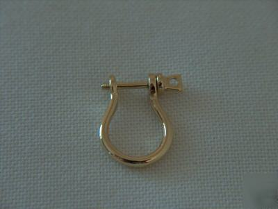 14kt yellow gold solid shackle earring 20mm 3 4 quot