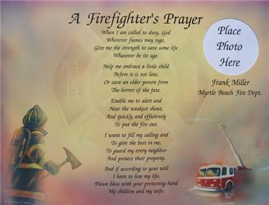 Firefighter's prayer personalized poem fire dept lot 18