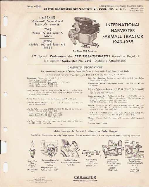 194955 i h    farmall    tractor carter carburetor manual